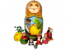 Traditional Russian nesting dolls with characters from tales inside