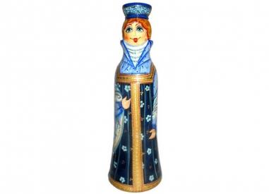 A girl in a blue sarafan