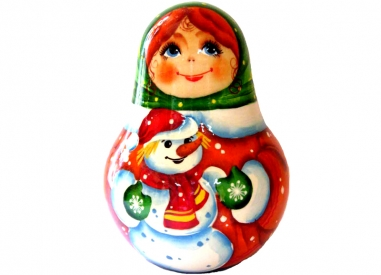 A girl with a snowman