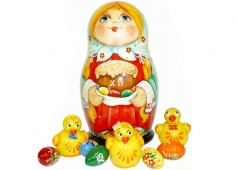A girl with chicks