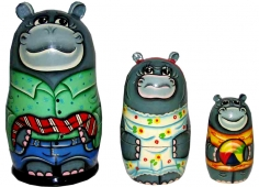 A family of hippos (with a tie)