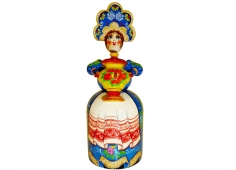 A young girl with a yellow samovar