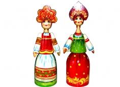A young girl in a kokoshnik (a woman's headdress in old