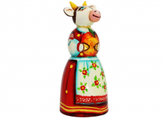 A cow with apples